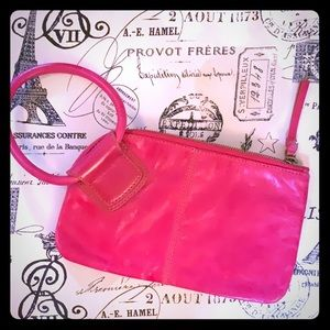 HOBO Sable Wristlet in Pink Leather